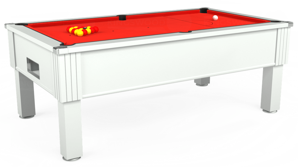 7ft Emirates Free Play Pool Table in White with Hainsworth Elite-Pro Bright Red cloth delivered and installed - £1,150.00