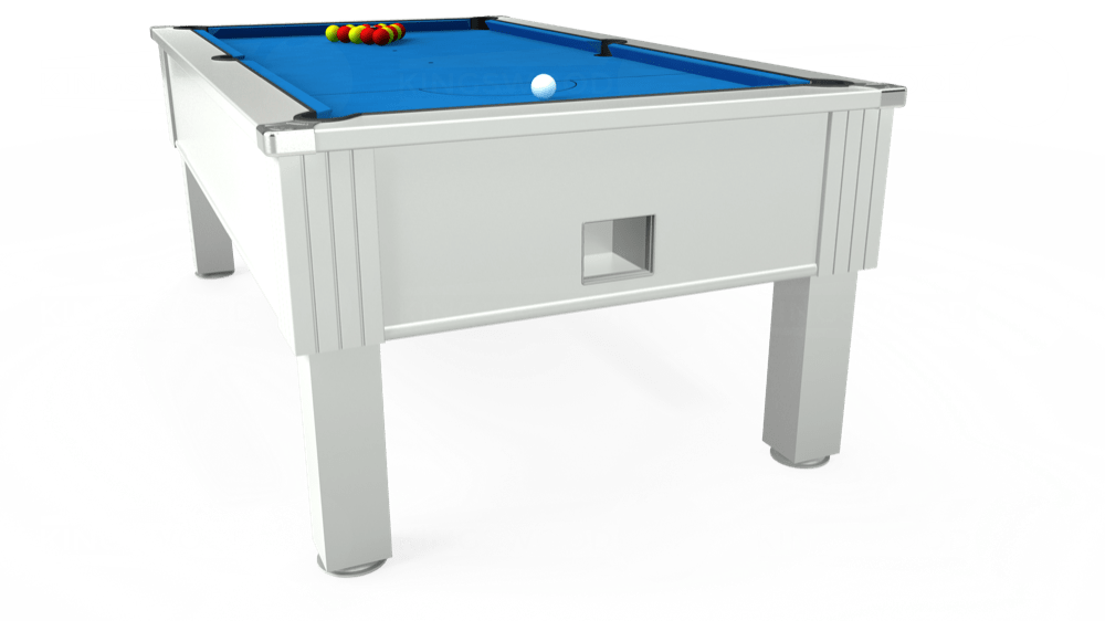 7ft Emirates Free Play Pool Table in White with Hainsworth Elite-Pro Electric Blue cloth delivered and installed - £1,150.00