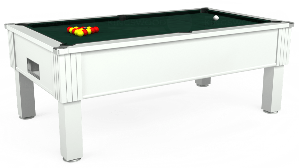 7ft Emirates Free Play Pool Table in White with Hainsworth Smart Ranger Green cloth delivered and installed - £1,150.00