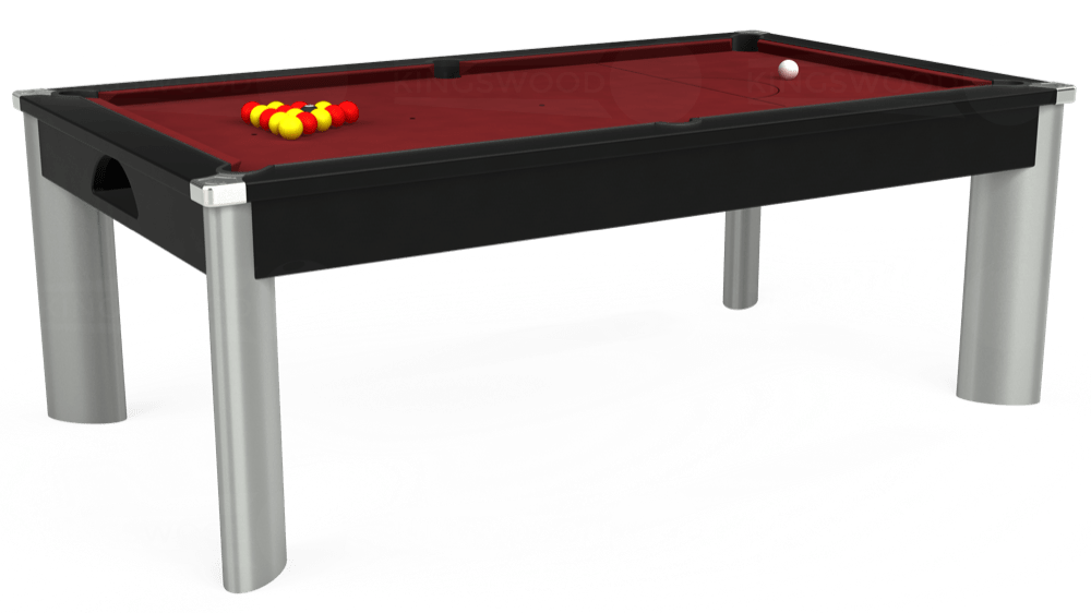 7ft Fusion Pool Dining Table in Black with Hainsworth Elite-Pro Burgundy cloth delivered and installed - £1,350.00