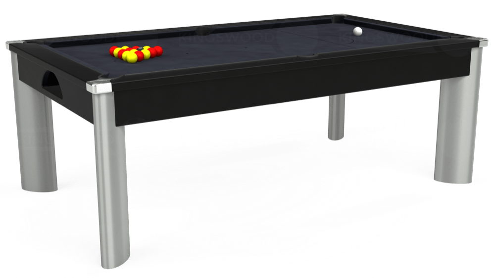 7ft Fusion Pool Dining Table in Black with Hainsworth Elite-Pro Charcoal cloth delivered and installed - £1,350.00