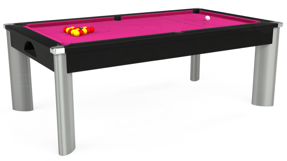 7ft Fusion Pool Dining Table in Black with Hainsworth Elite-Pro Fuchsia cloth delivered and installed - £1,350.00