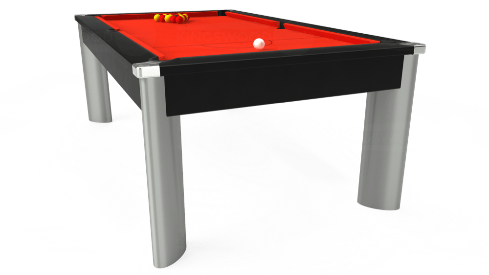 7ft Fusion Pool Dining Table in Black with Hainsworth Elite-Pro Orange cloth delivered and installed - £1,320.00