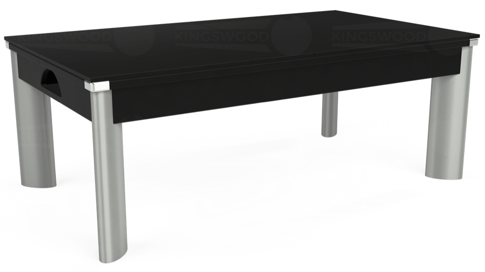 7ft Fusion Pool Dining Table in Black with Hainsworth Elite-Pro Petrol Blue cloth delivered and installed - £1,350.00