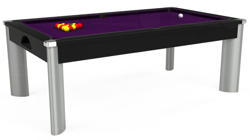 6ft Fusion Pool Dining Table in Black with Hainsworth Elite-Pro Purple cloth delivered and installed - £1,350.00