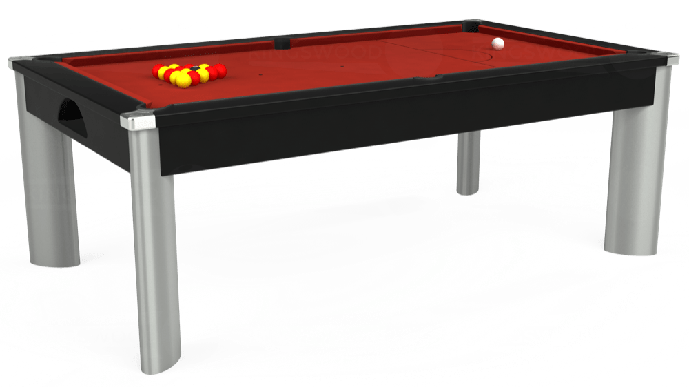 7ft Fusion Pool Dining Table in Black with Hainsworth Elite-Pro Red cloth delivered and installed - £1,320.00