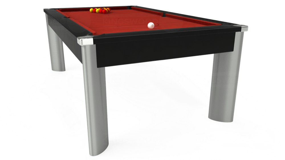 7ft Fusion Pool Dining Table in Black with Hainsworth Elite-Pro Red cloth delivered and installed - £1,270.00