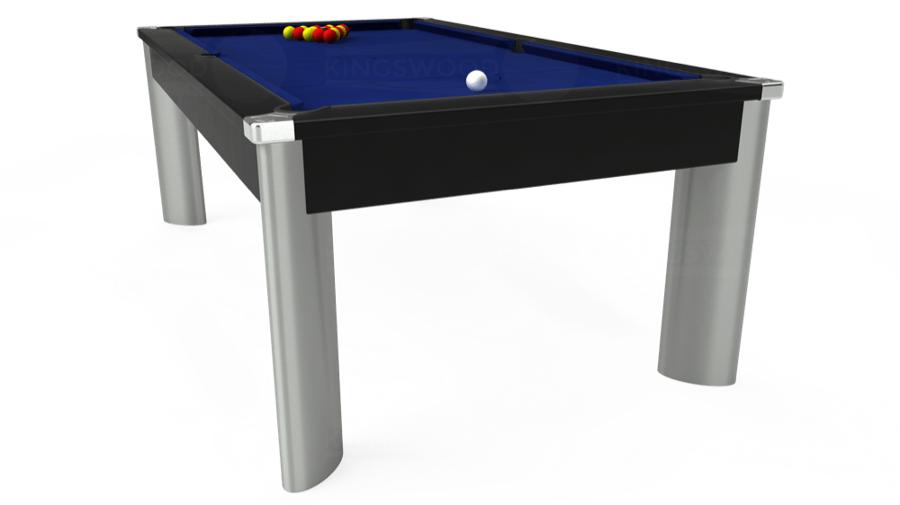 7ft Fusion Pool Dining Table in Black with Hainsworth Elite-Pro Royal Blue cloth delivered and installed - £1,350.00