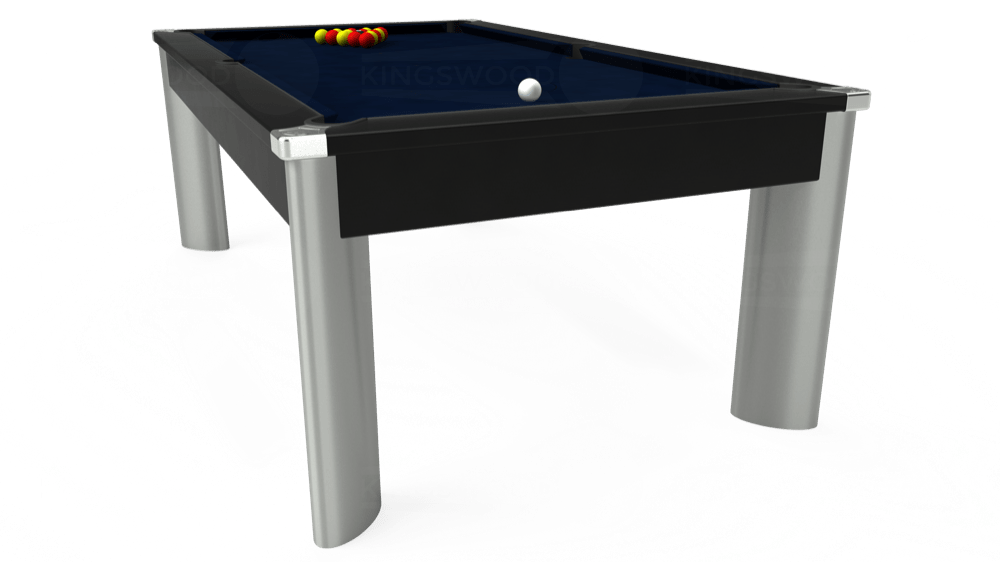 7ft Fusion Pool Dining Table in Black with Hainsworth Smart French Navy cloth delivered and installed - £1,350.00