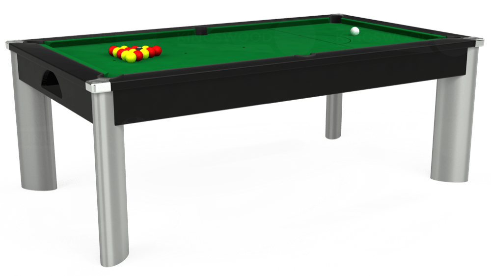 7ft Fusion Pool Dining Table in Black with Hainsworth Smart Olive cloth delivered and installed - £1,350.00