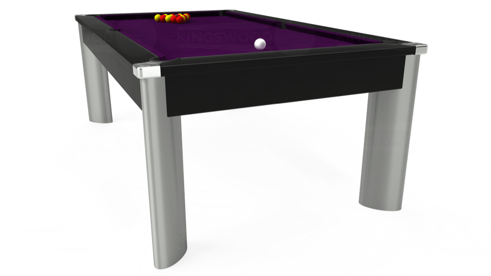7ft Fusion Pool Dining Table in Black with Hainsworth Smart Purple cloth delivered and installed - £1,350.00