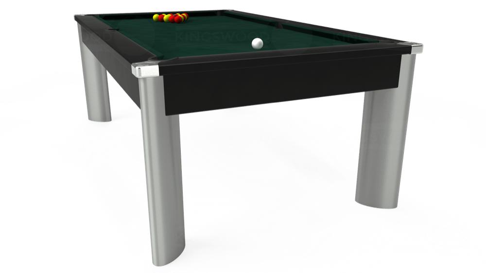 7ft Fusion Pool Dining Table in Black with Hainsworth Smart Ranger Green cloth delivered and installed - £1,350.00