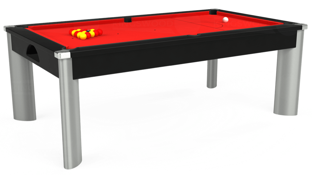 7ft Fusion Pool Dining Table in Black with Hainsworth Smart Red cloth delivered and installed - £1,350.00