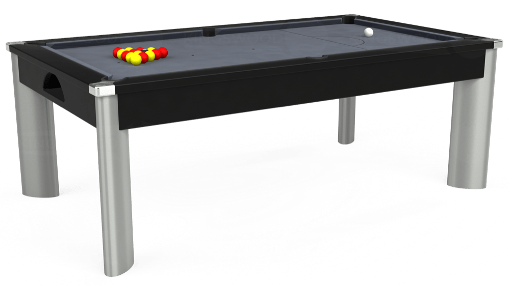 7ft Fusion Pool Dining Table in Black with Hainsworth Smart Silver cloth delivered and installed - £1,270.00