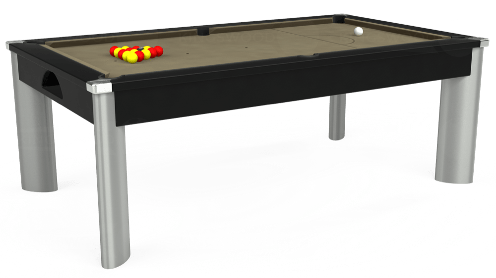 7ft Fusion Pool Dining Table in Black with Hainsworth Smart Taupe cloth delivered and installed - £1,350.00