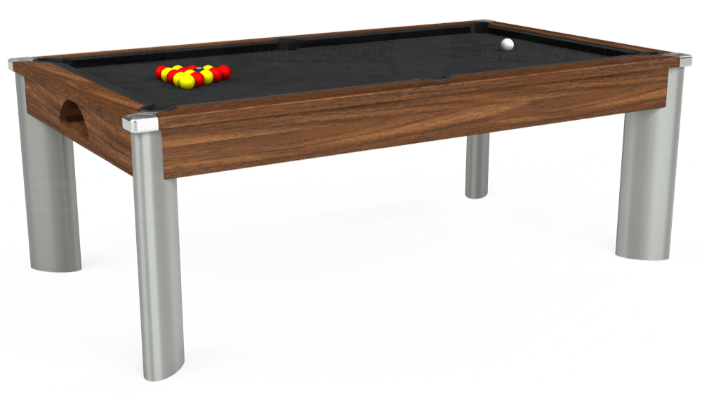 7ft Fusion Pool Dining Table in Dark Walnut with Standard Black cloth delivered and installed - £1,250.00