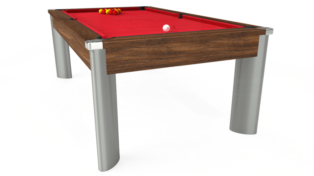 7ft Fusion Pool Dining Table in Dark Walnut with Standard Red cloth delivered and installed - £1,250.00