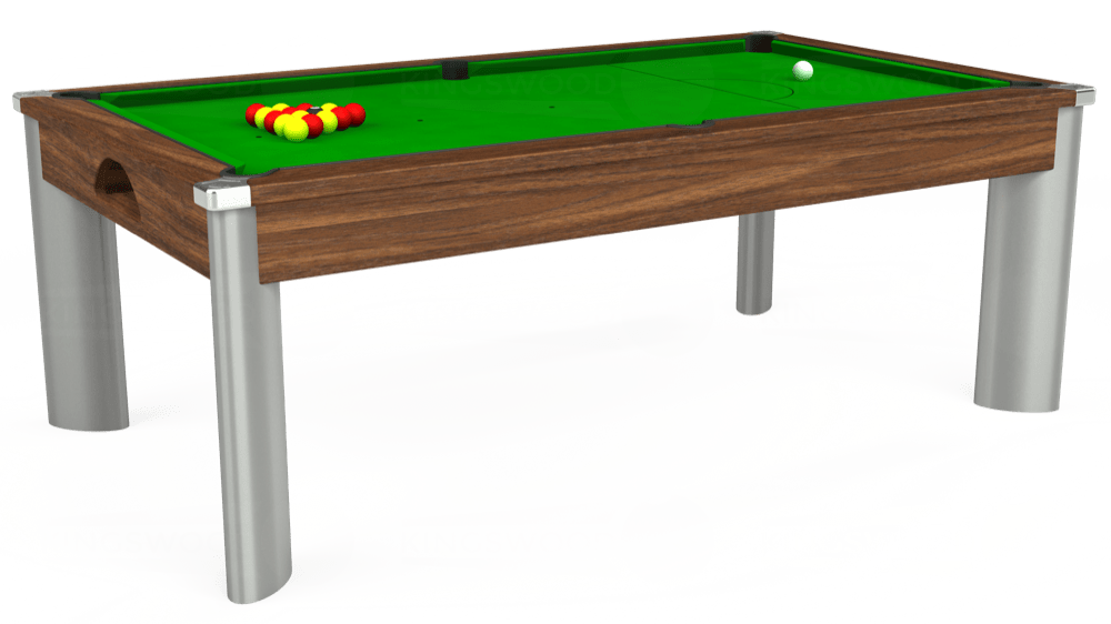 7ft Fusion Pool Dining Table in Dark Walnut with Standard Green cloth delivered and installed - £1,250.00