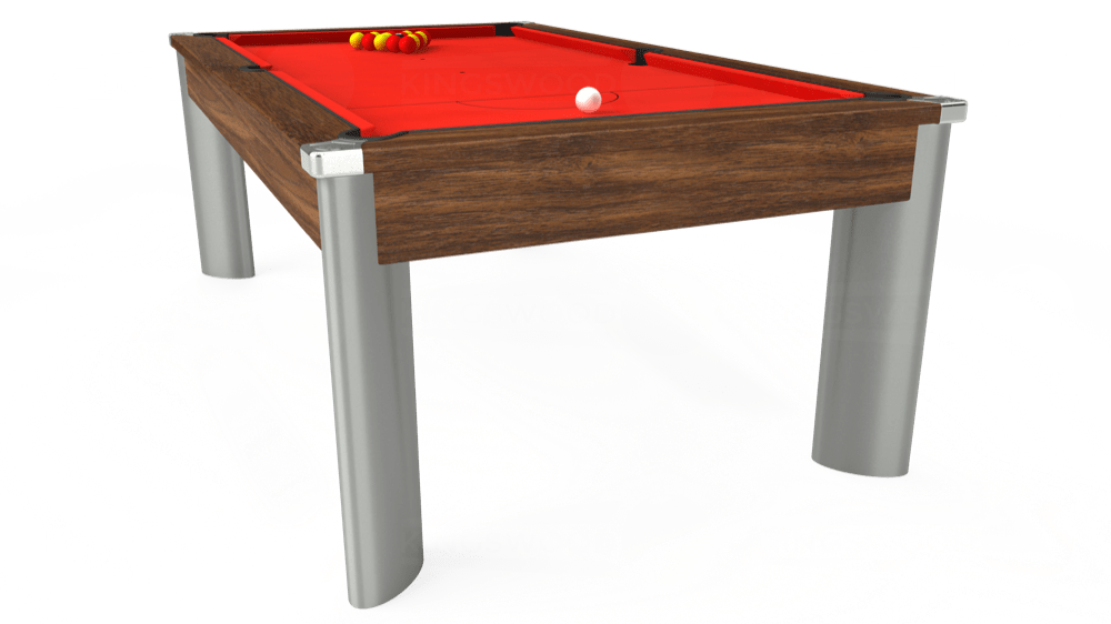 7ft Fusion Pool Dining Table in Dark Walnut with Hainsworth Elite-Pro Bright Red cloth delivered and installed - £1,350.00