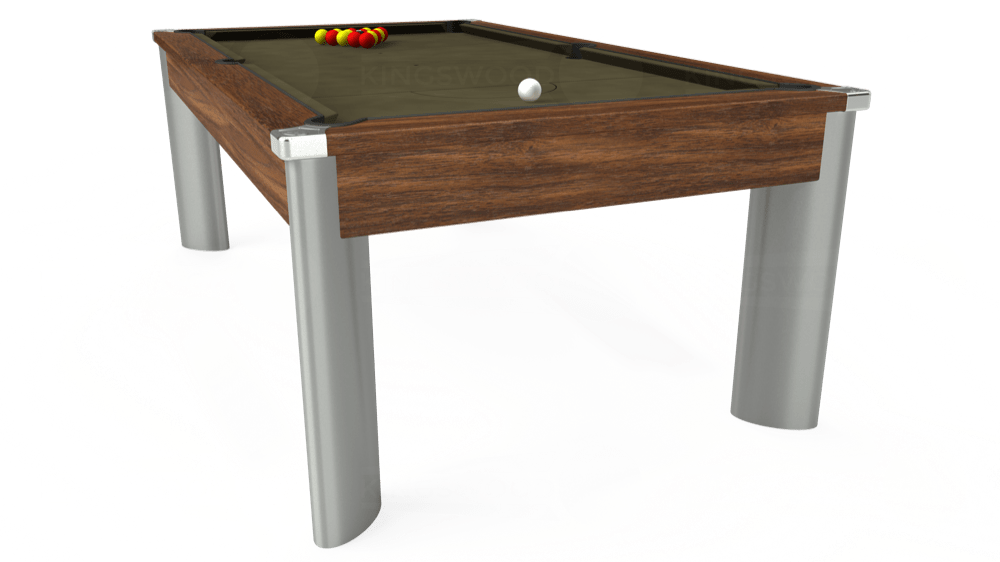 7ft Fusion Pool Dining Table in Dark Walnut with Hainsworth Elite-Pro Olive cloth delivered and installed - £1,350.00