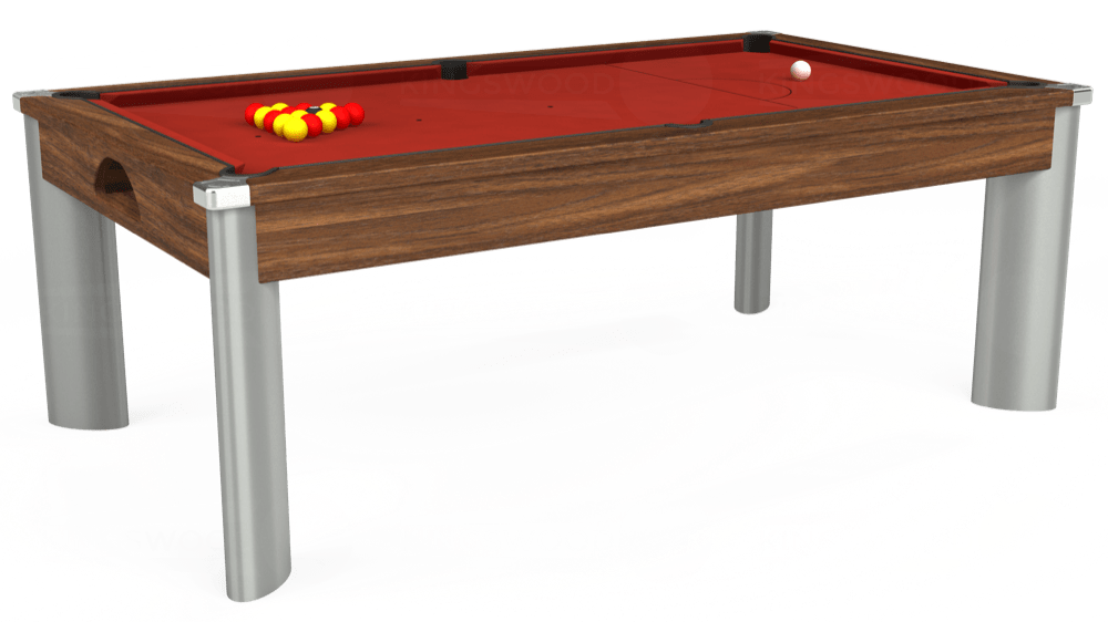 7ft Fusion Pool Dining Table in Dark Walnut with Hainsworth Elite-Pro Red cloth delivered and installed - £1,270.00