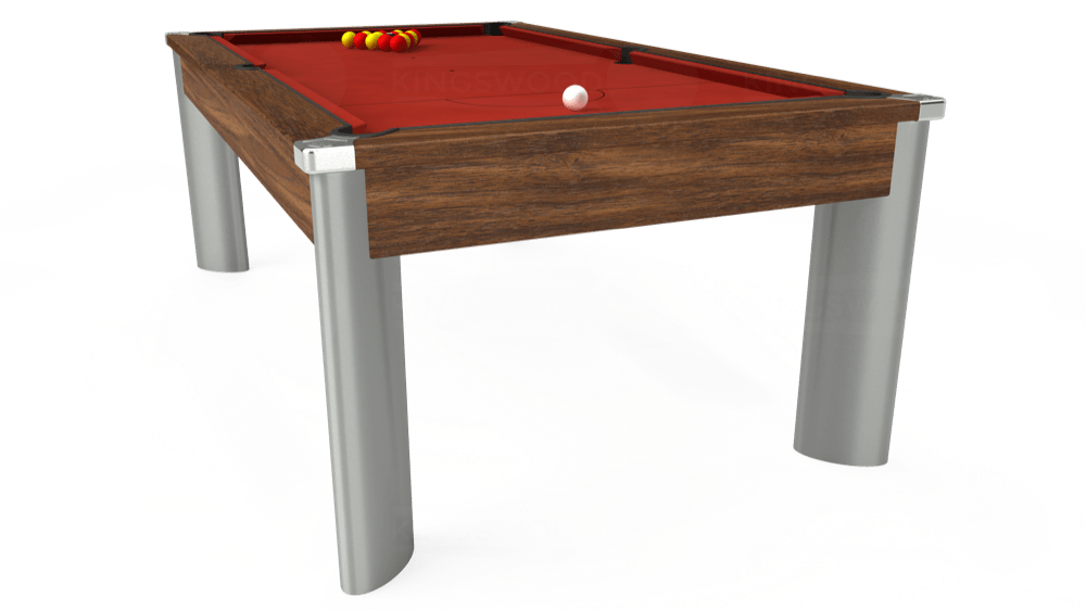 7ft Fusion Pool Dining Table in Dark Walnut with Hainsworth Elite-Pro Red cloth delivered and installed - £1,350.00