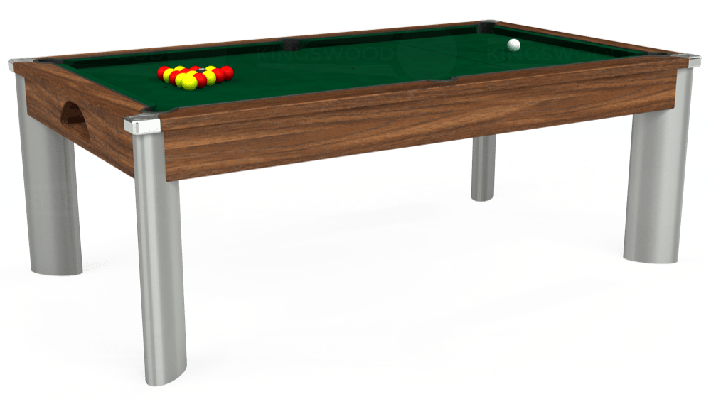 7ft Fusion Pool Dining Table in Dark Walnut with Hainsworth Elite-Pro Spruce cloth delivered and installed - £1,350.00