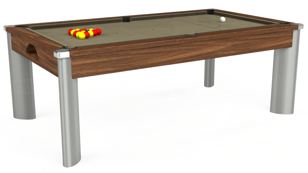 7ft Fusion Pool Dining Table in Dark Walnut with Hainsworth Smart Taupe cloth delivered and installed - £1,350.00