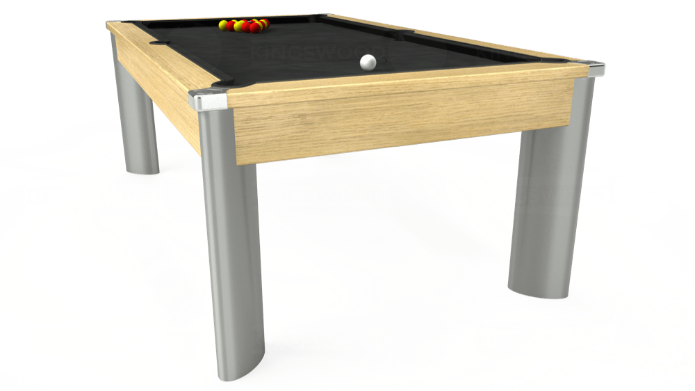7ft Fusion Pool Dining Table in Light Oak with Standard Black cloth delivered and installed - £1,220.00