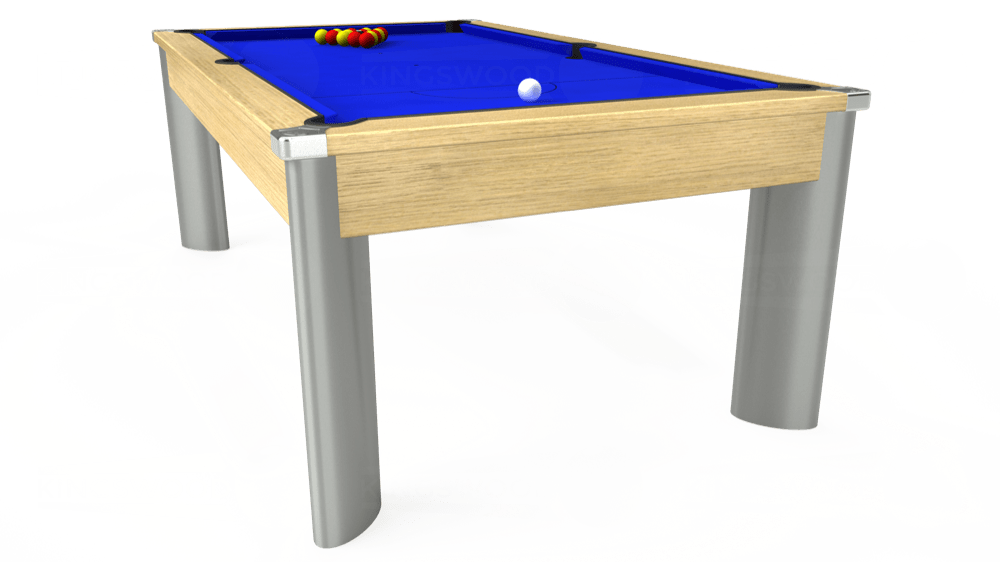 7ft Fusion Pool Dining Table in Light Oak with Standard Blue cloth delivered and installed - £1,250.00