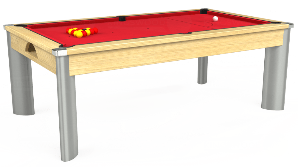 7ft Fusion Pool Dining Table in Light Oak with Standard Red cloth delivered and installed - £1,250.00