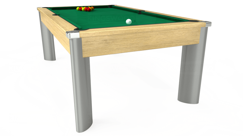 7ft Fusion Pool Dining Table in Light Oak with Hainsworth Elite-Pro American Green cloth delivered and installed - £1,350.00