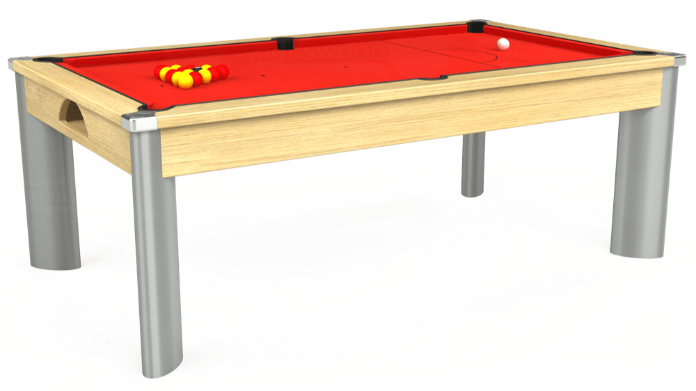 7ft Fusion Pool Dining Table in Light Oak with Hainsworth Elite-Pro Bright Red cloth delivered and installed - £1,350.00