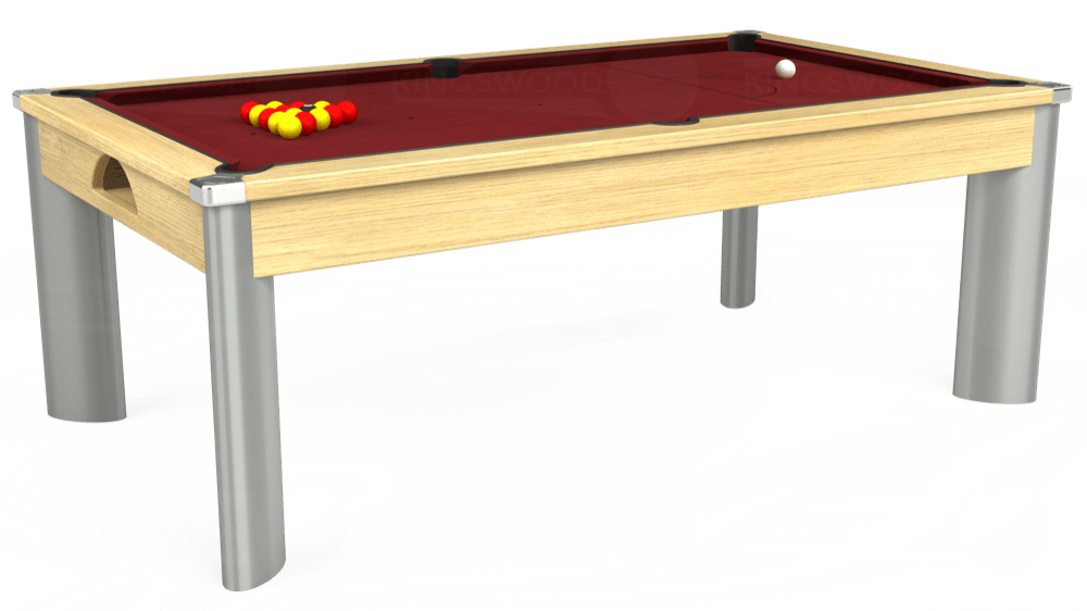 7ft Fusion Pool Dining Table in Light Oak with Hainsworth Elite-Pro Burgundy cloth delivered and installed - £1,350.00