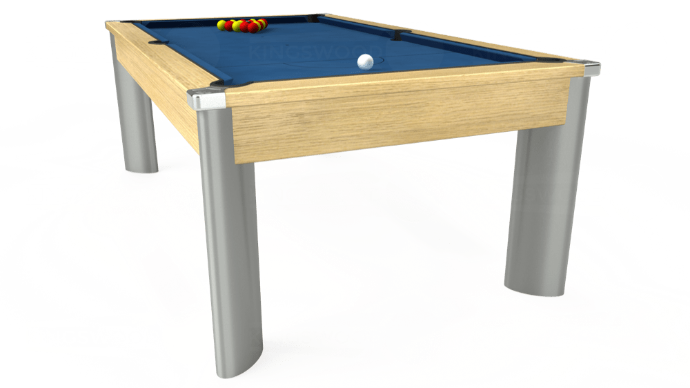 7ft Fusion Pool Dining Table in Light Oak with Hainsworth Elite-Pro Cadet Blue cloth delivered and installed - £1,350.00