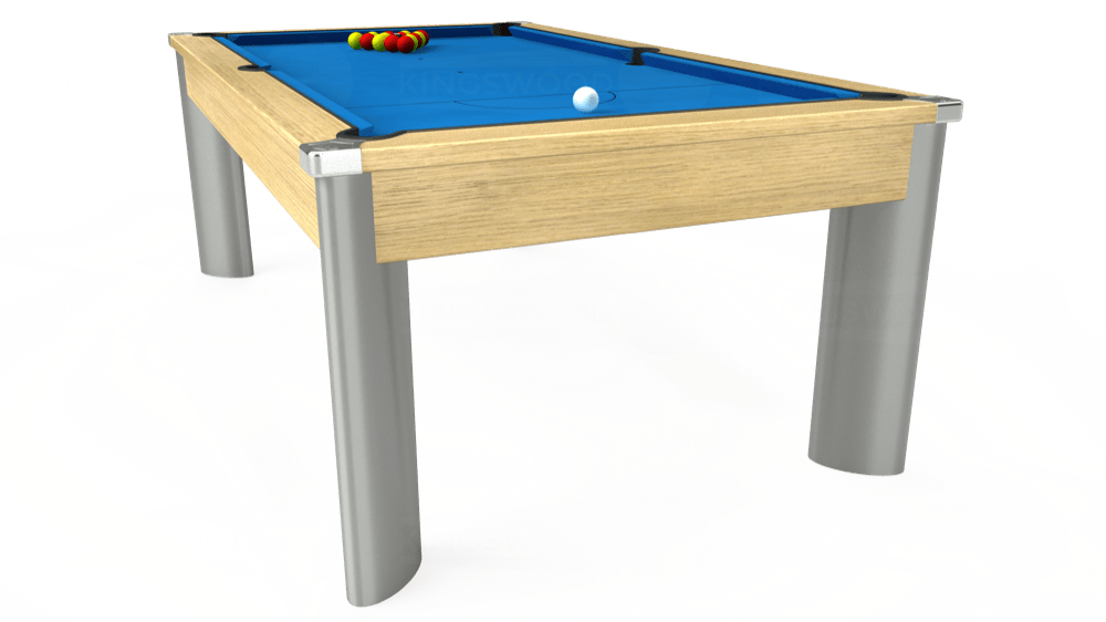 7ft Fusion Pool Dining Table in Light Oak with Hainsworth Elite-Pro Electric Blue cloth delivered and installed - £1,350.00