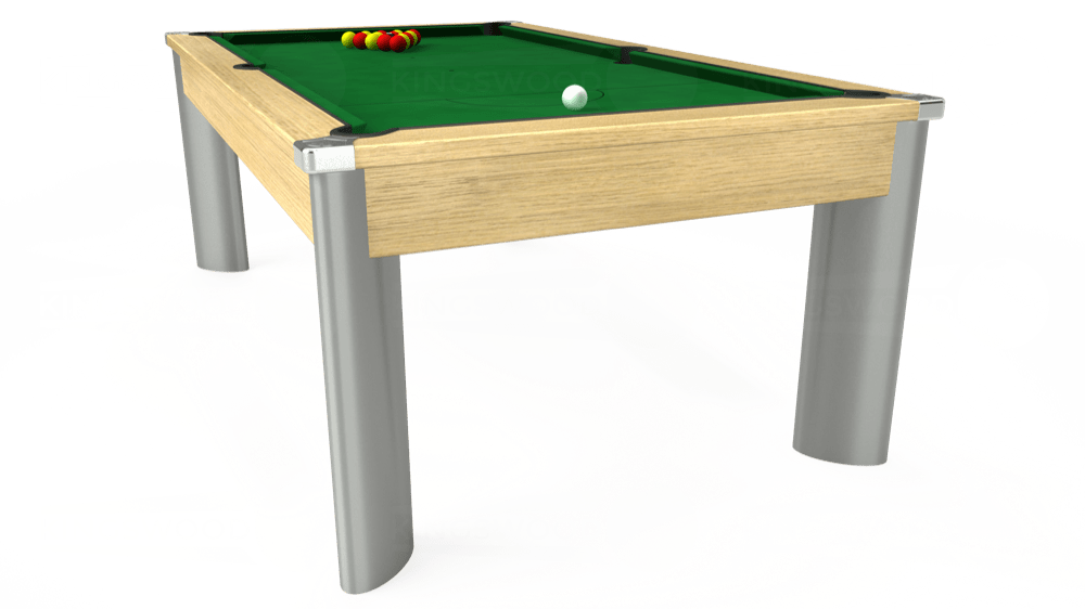 7ft Fusion Pool Dining Table in Light Oak with Hainsworth Elite-Pro English Green cloth delivered and installed - £1,270.00
