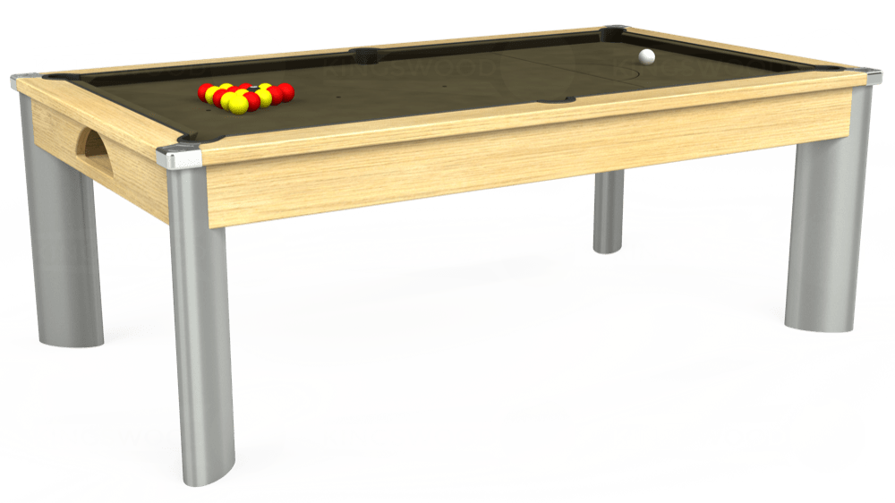 7ft Fusion Pool Dining Table in Light Oak with Hainsworth Elite-Pro Olive cloth delivered and installed - £1,350.00
