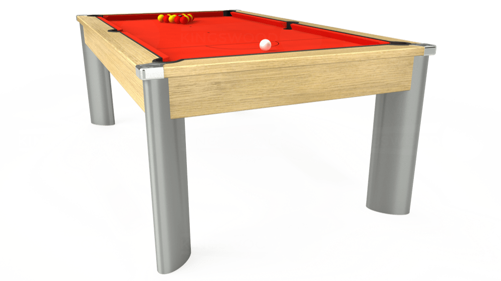 7ft Fusion Pool Dining Table in Light Oak with Hainsworth Elite-Pro Orange cloth delivered and installed - £1,350.00