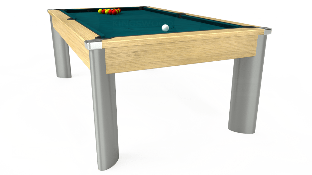 7ft Fusion Pool Dining Table in Light Oak with Hainsworth Elite-Pro Petrol Blue cloth delivered and installed - £1,350.00