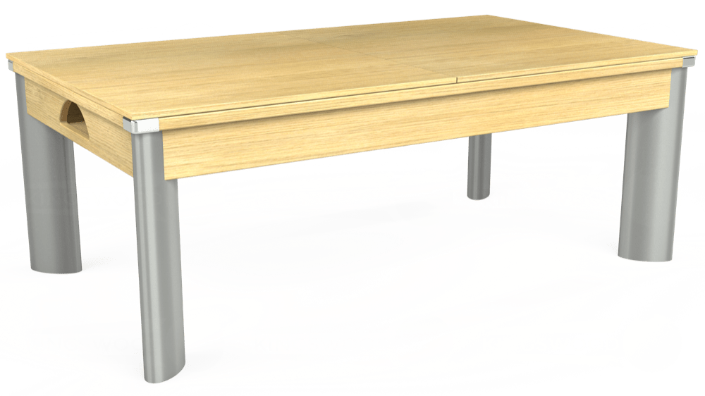 7ft Fusion Pool Dining Table in Light Oak with Hainsworth Elite-Pro Powder Blue cloth delivered and installed - £1,350.00