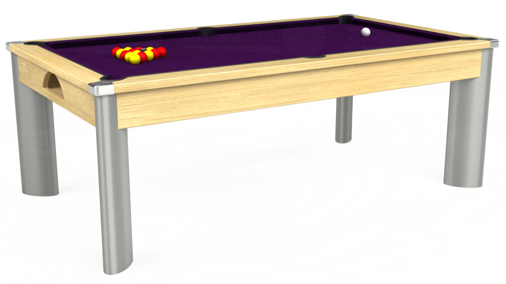 7ft Fusion Pool Dining Table in Light Oak with Hainsworth Elite-Pro Purple cloth delivered and installed - £1,440.00