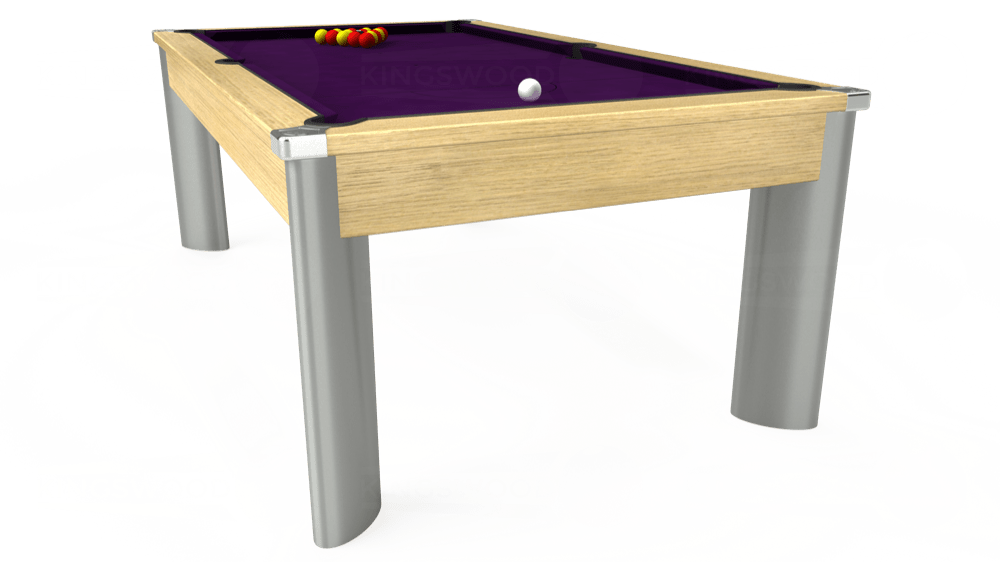7ft Fusion Pool Dining Table in Light Oak with Hainsworth Elite-Pro Purple cloth delivered and installed - £1,350.00
