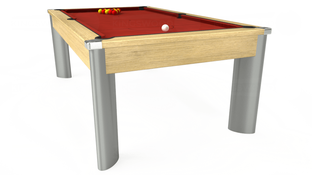 7ft Fusion Pool Dining Table in Light Oak with Hainsworth Elite-Pro Red cloth delivered and installed - £1,350.00