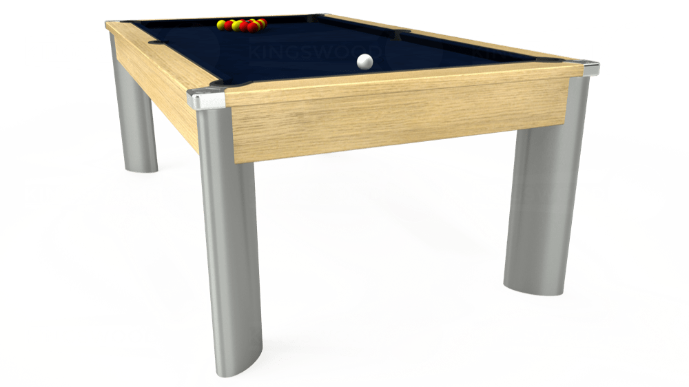 7ft Fusion Pool Dining Table in Light Oak with Hainsworth Smart French Navy cloth delivered and installed - £1,350.00
