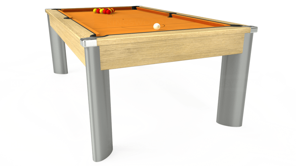 7ft Fusion Pool Dining Table in Light Oak with Hainsworth Smart Gold cloth delivered and installed - £1,320.00