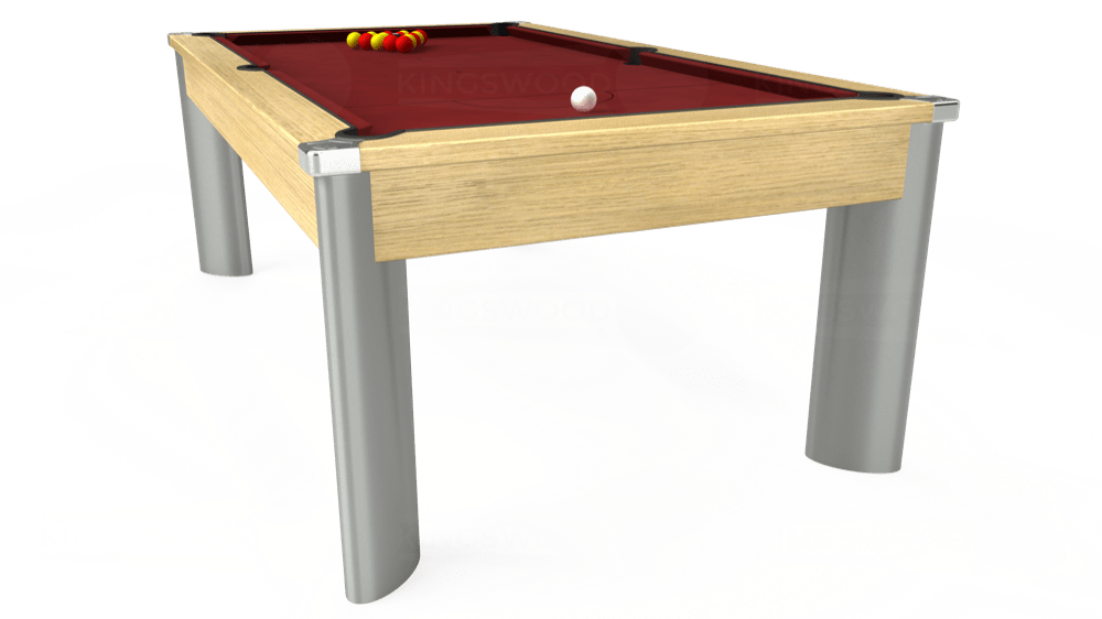 7ft Fusion Pool Dining Table in Light Oak with Hainsworth Smart Maroon cloth delivered and installed - £1,350.00