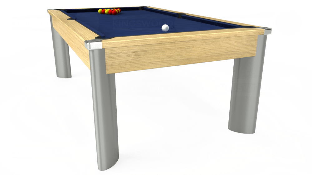 7ft Fusion Pool Dining Table in Light Oak with Hainsworth Smart Royal Navy cloth delivered and installed - £1,320.00