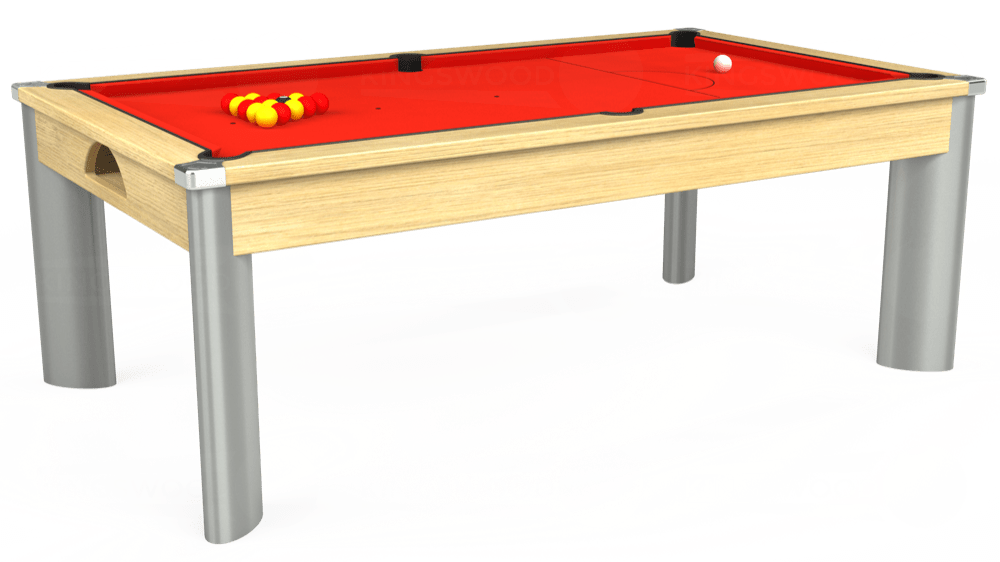 7ft Fusion Pool Dining Table in Light Oak with Hainsworth Smart Orange cloth delivered and installed - £1,350.00