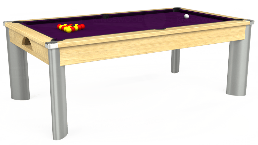 7ft Fusion Pool Dining Table in Light Oak with Hainsworth Smart Purple cloth delivered and installed - £1,350.00